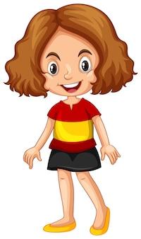 Fille portant une chemise avec le drapeau de l'espagne
