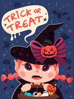 Fille portant des costumes de sorcière et disant trick or treat