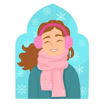 Fille portant manteau d'hiver et écharpe