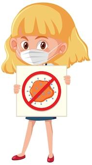 Fille portant un masque et tenant le signe du coronavirus d'arrêt