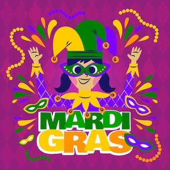 Fille portant des vêtements de fête carnaval de mardi gras heureux