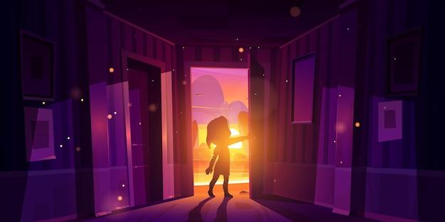 Fille porte ouverte entrant dans la maison au coucher du soleil