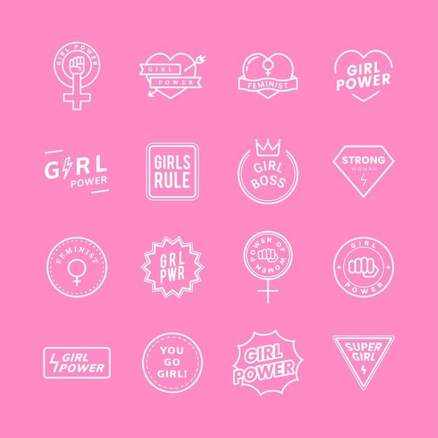 Fille de pouvoir mixte emblèmes ensemble illustration