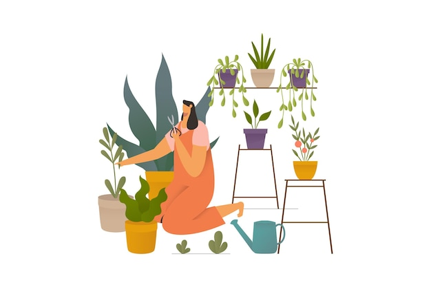 Fille prenant soin d'illustration de dessin animé de plantes d'intérieur