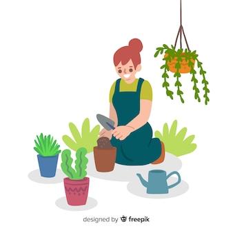 Fille prenant soin des plantes
