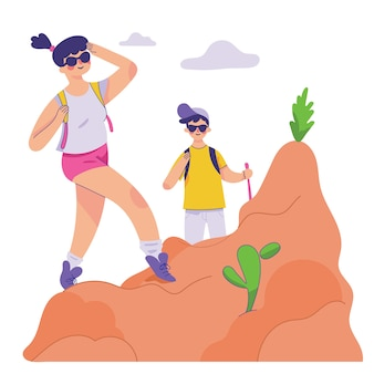 Fille profiter de sa randonnée dans la montagne, garçon et fille trekking et profiter de la nature ensemble