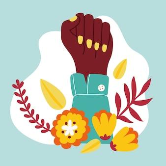 Fille de puissance avec la main afro jusqu'à la conception d'illustration vectorielle poing