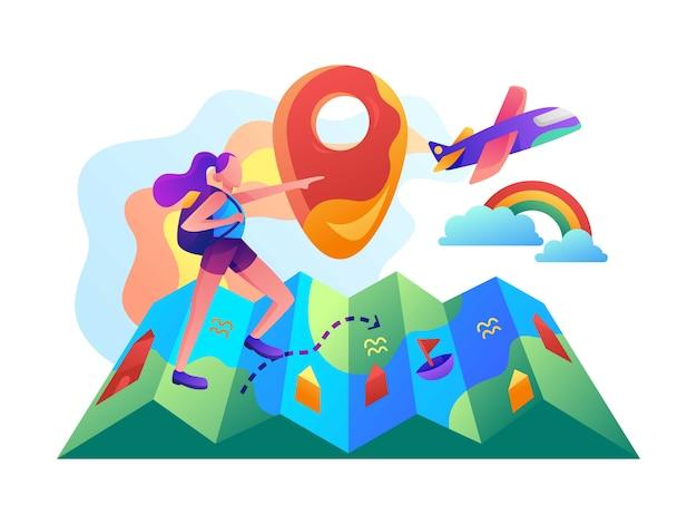 Une fille qui cherche l'illustration vectorielle plane de destination