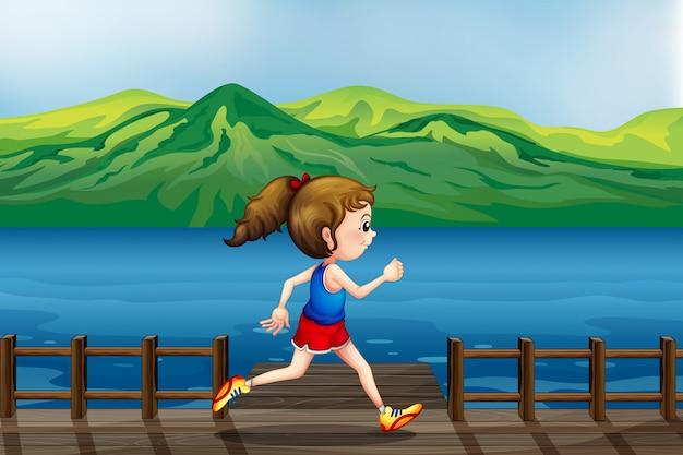 Une fille qui court au port