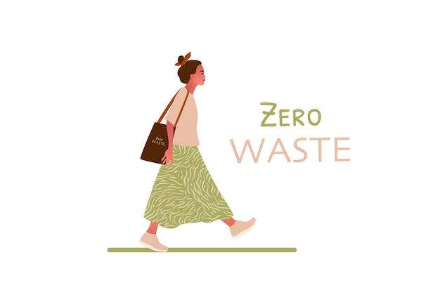Fille qui marche. concept zéro déchet ou écologie illustration dessinée à la main
