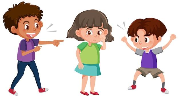 Une fille qui pleure parce que deux garçons la harcèlent verbalement