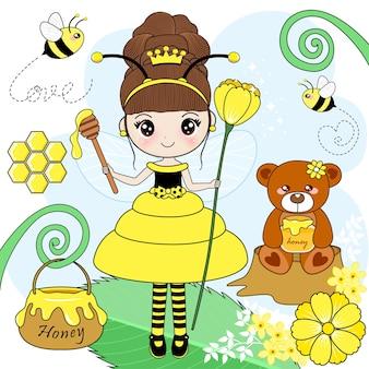 La fille qui porte une robe mignonne abeille avec douceur
