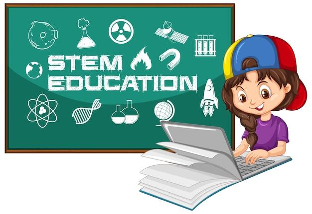 Fille à la recherche sur ordinateur portable avec style de dessin animé de texte de l'éducation de tige isolé sur blanc