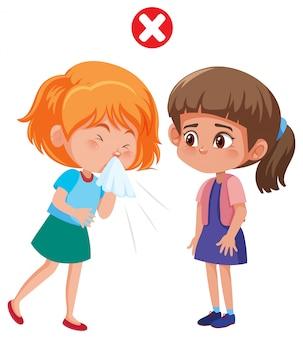 Fille répandant covid-19 par la toux
