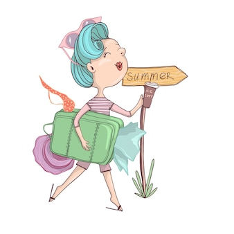 Fille rétro dessin animé avec des cheveux bleus et avec valise avec des choses allant à la plage. été
