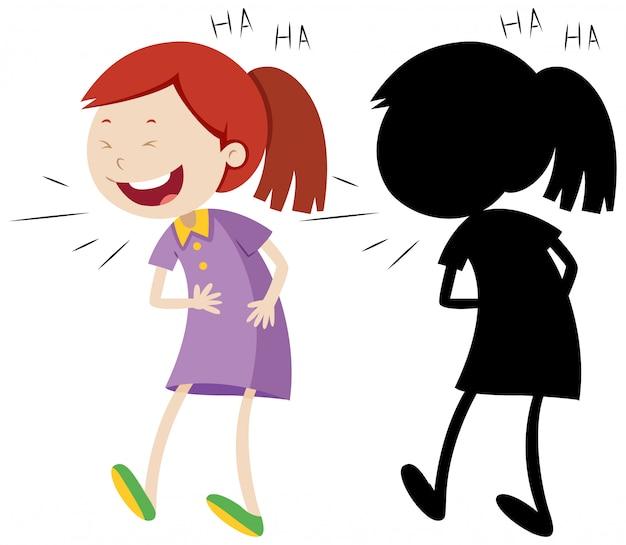 Fille riant avec sa silhouette