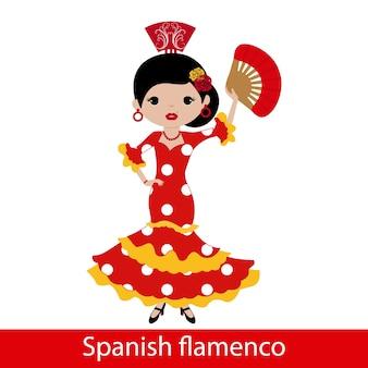 Fille en robe de flamenco rouge