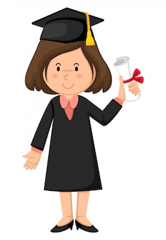 Fille en robe de graduation