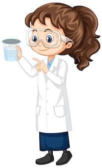 Fille en robe de laboratoire sur blanc