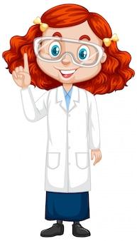 Fille en robe de science