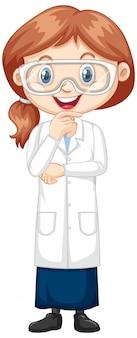 Fille en robe scientifique sur blanc