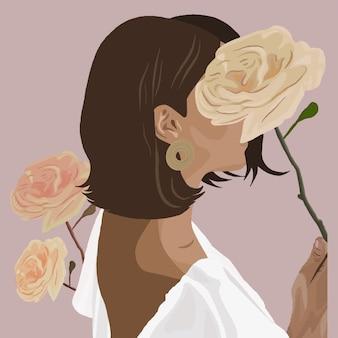 Fille avec des roses. illustration de mode vectorielle.