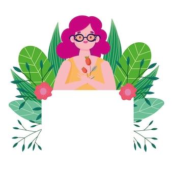 Fille avec ruban de fleurs et bannière illustration d'amour de personnage de dessin animé