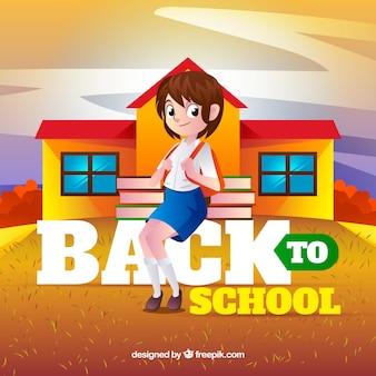 Fille avec sac à dos et livres arrivant à l'école