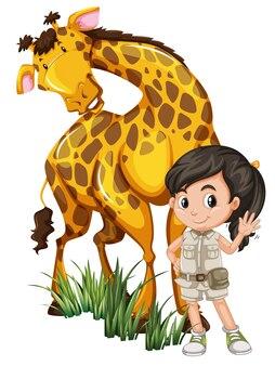 Une fille de safari avec girafe