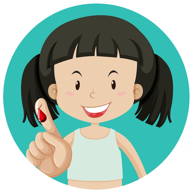 Une fille saignant sur le doigt