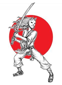 Fille samouraï masquée, illustration dessinée à la main
