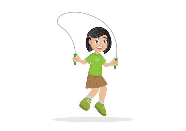 Fille sautant à la corde.