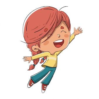 Fille sautant de joie à bras ouverts