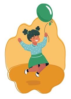 Fille sautante avec montgolfière