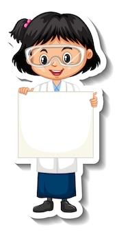 Fille scientifique tenant un autocollant de personnage de dessin animé de plateau vide