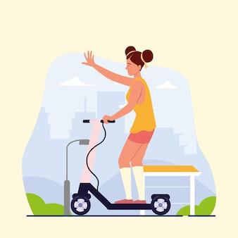 Fille sur scooter électrique