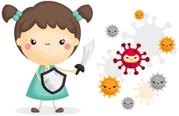Fille se battre avec le virus