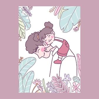 La fille se blottit avec amour avec son père sur le cou.