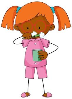 Une fille se brosser les dents personnage de dessin animé