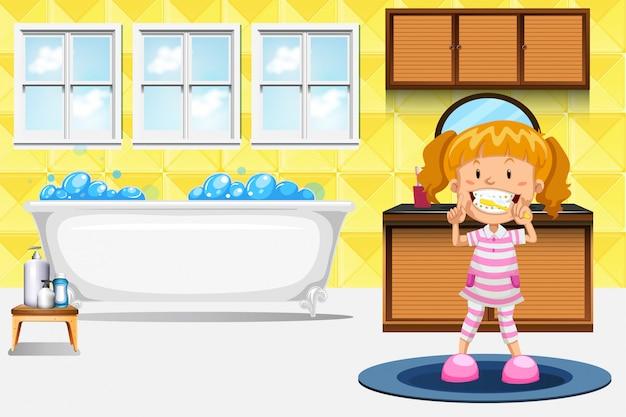 Une fille se brosser les dents