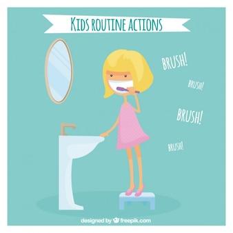 Fille se brosser les dents