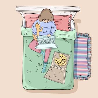 Fille se détendre sur le lit