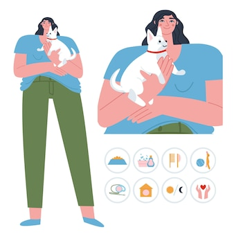 Une fille se tient avec un petit chien dans ses bras vecteur plat