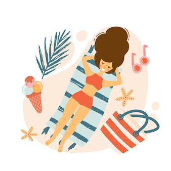 Fille se trouve sur la plage relaxante à la station balnéaire. ensemble de maillot de bain éléments mignons de plage, chapeau, tongs, lunettes de soleil, serviette de plage. illustration vectorielle plane
