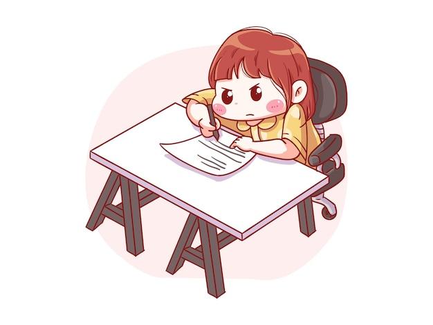 Fille sérieuse mignonne et kawaii écrire sur papier manga chibi illustration