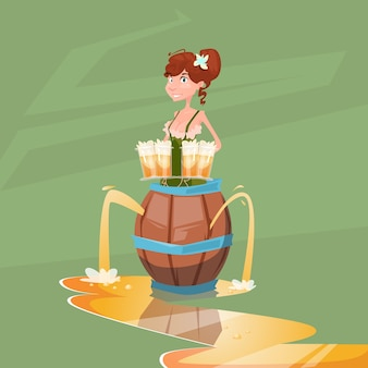 Fille serveuse tenir la bière