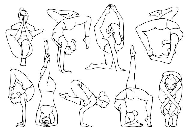Fille de silhouettes pratiquant le yoga étirant des exercices de dessin et de croquis à la main