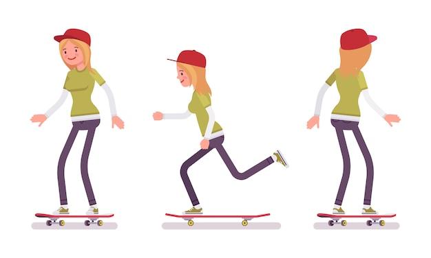 Fille de skateur, équitation en mouvement