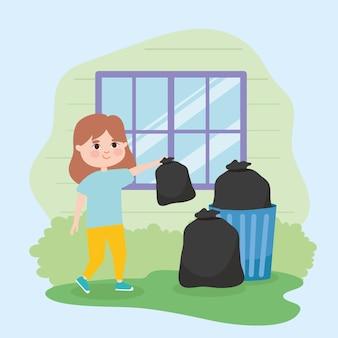Fille sortant des ordures devant la fenêtre