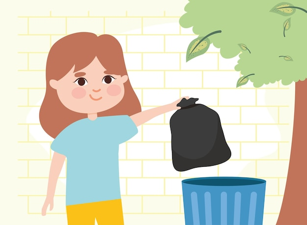 Fille sortant un sac poubelle devant le mur